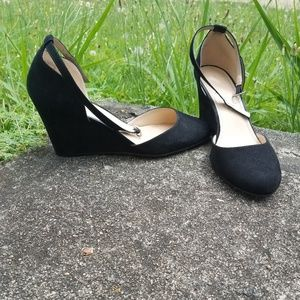 Shoes - All black suede wedges